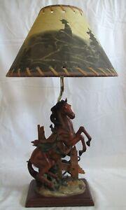 Western Horse Bronco Stallion Cowboy Lamp & Shade Works