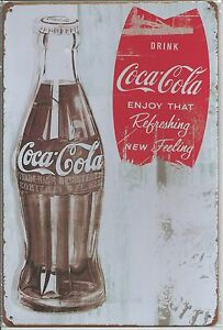 Metal-Tin-Sign-30-x-20-cm-Coca-Cola-Coke-034-Enjoy-That-Refreshing-New-Feeling-034