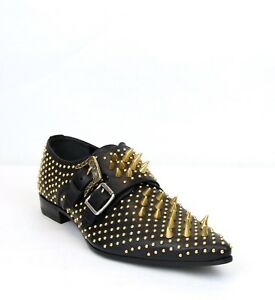 7492e330ef4585 $1590 Gucci Mens Black Lux Leather Shoes w/Studded Spikes and Buckle ...