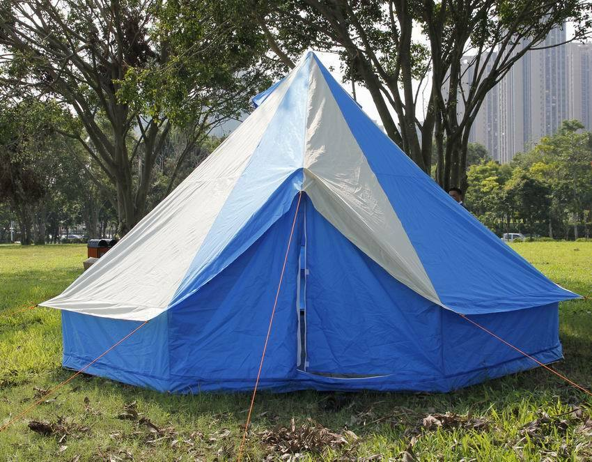 Bell tent 5 Meter 5M, ZIG Zipped-in-Groundsheet 10 person CAMPING blueE Stripes