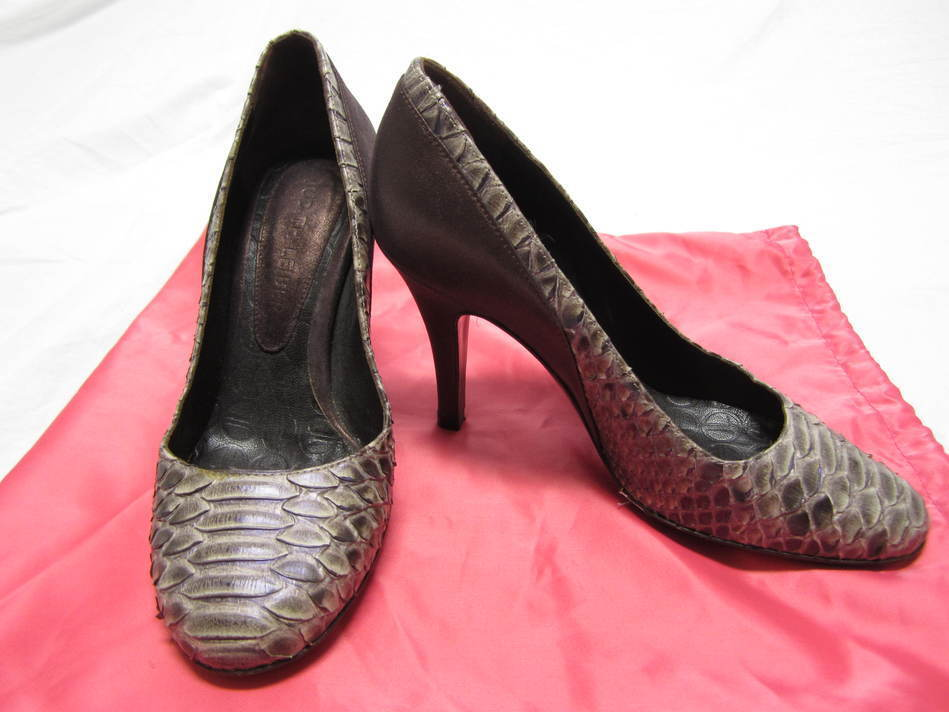 JUDITH JUDITH JUDITH LEIBER metallic purple & Braun python & Leder pumps 5 B TOO CUTE e0d5b3