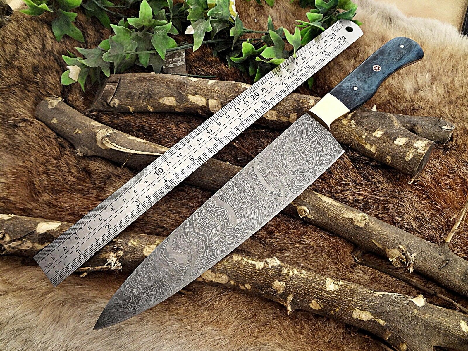 Damascus Steel kitchen chef Knife 14  full tang Hand Forged blade bone scale