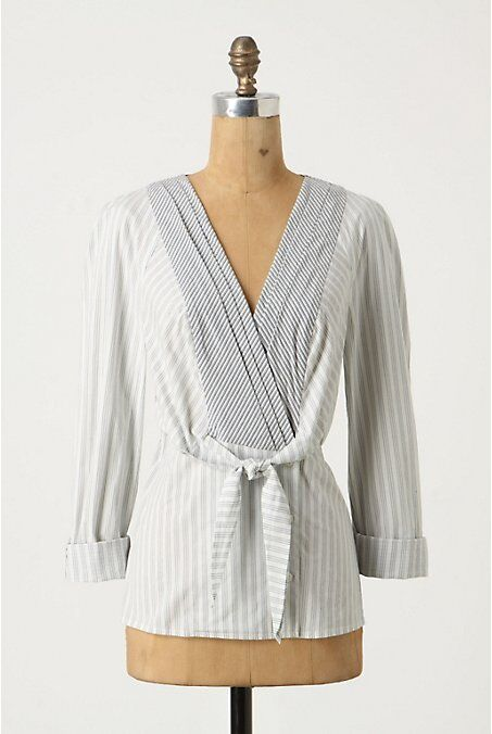 NWT Ruled Lines Blouse Top 0 ANTHROPOLOGIE  88 Odille Blau Weiß Stripes