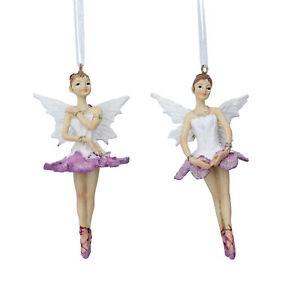 Tissu Rose Ballerina Fairy DECORATIONS lot de 2 Gisela Graham
