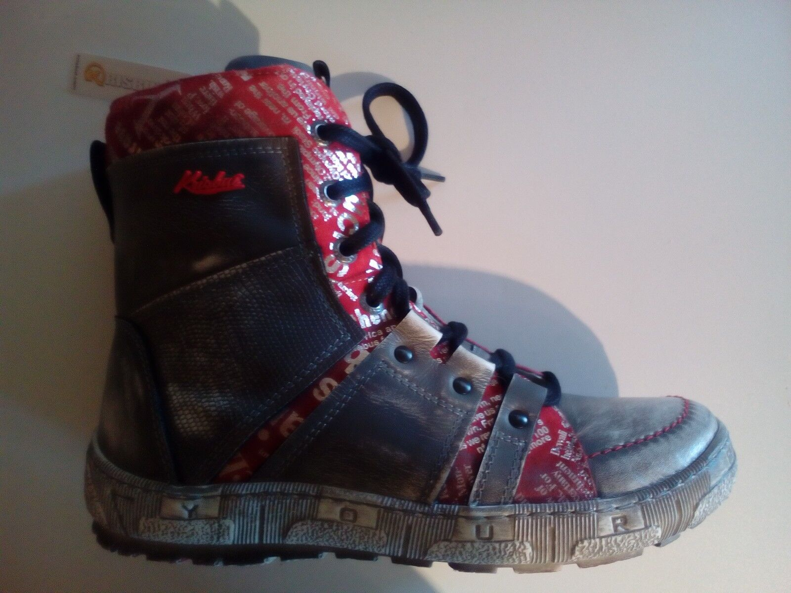 Krisbut Damen Leder Stiefel Reißverschluss Farbe grau-used-rot Größe 38-39-40 NEU