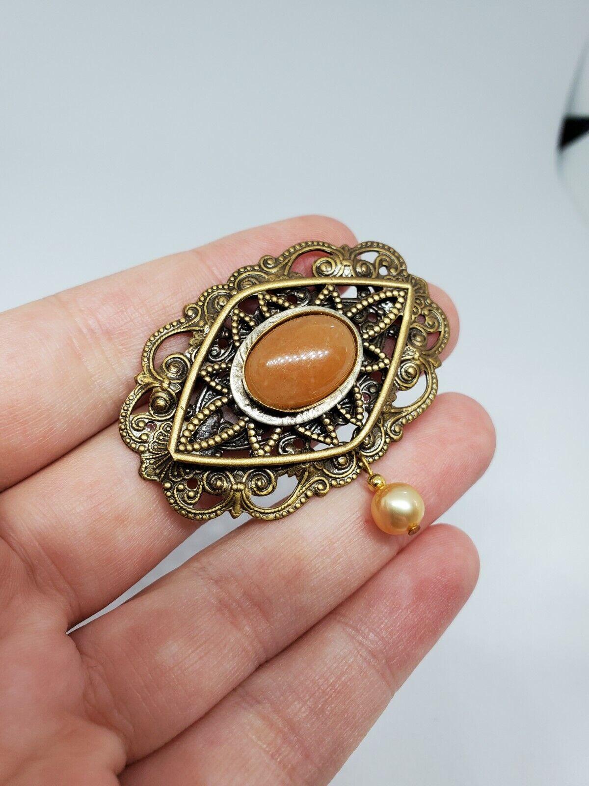 Vintage Orange Stone Brass Filigree Ornate Pearl … - image 2
