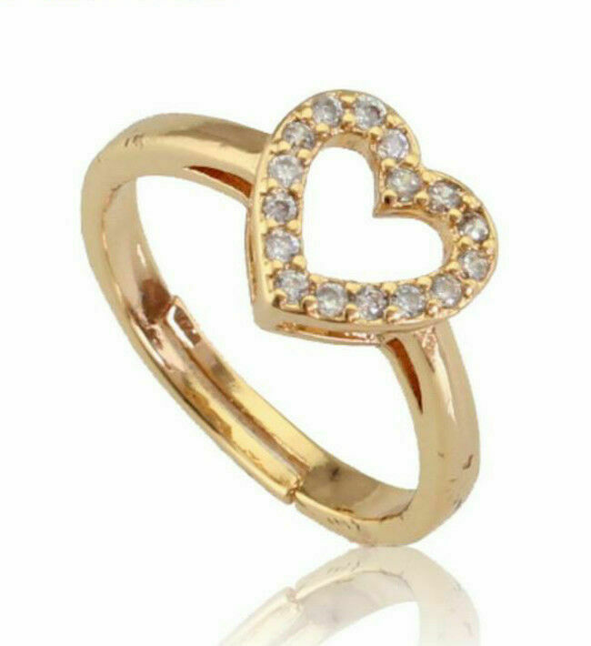 0.38CT NATURAL ROUND DIAMOND 14K SOLID YELLOW gold HEART RING IN SIZE 7 TO 9