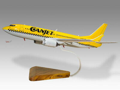 Collectables Boeing 737-800 Canjet Yellow Solid Dried Mahogany Wood Handmade Desktop Model Fine Workmanship Airlines