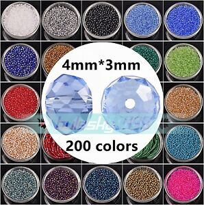 100pcs-4mm-4x3mm-Rondelle-Faceted-Crystal-Glass-Loose-Spacer-Beads-lot