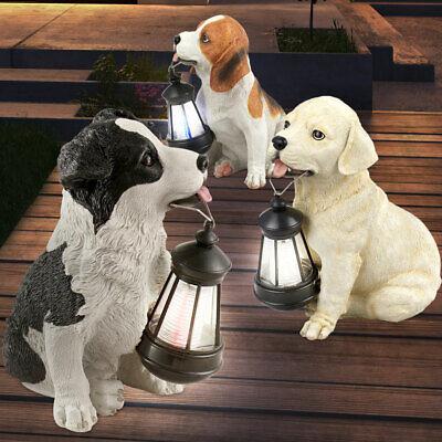 Außen LED SOLAR Hunde Figur Deko Garten Hof Weg Beleuchtung