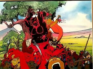 RALPH BAKSHI WIZARDS PRODUCTION CEL OF ELVES BATTLING DEMON HORDE, KEY COPY BG