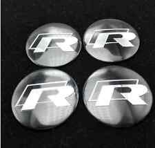 Set of 4 R Line Sticker Wheel Center Cap Badge 57MM Aluminium Domed Fits VW
