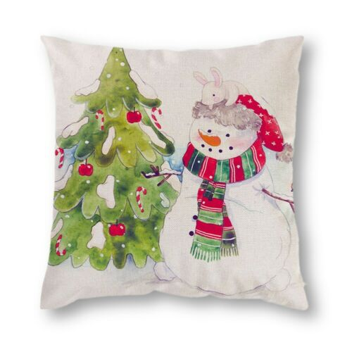 "18/"" Christmas Xmas Cushion Cover Pillow Case Cotton Linen Home Sofa Throw Decor"