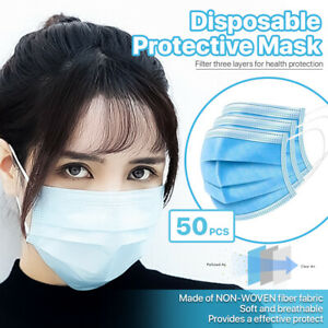 50-PCS-3-Ply-Disposable-Face-Mask-Non-Medical-Surgical-Earloop-Mouth-Cover