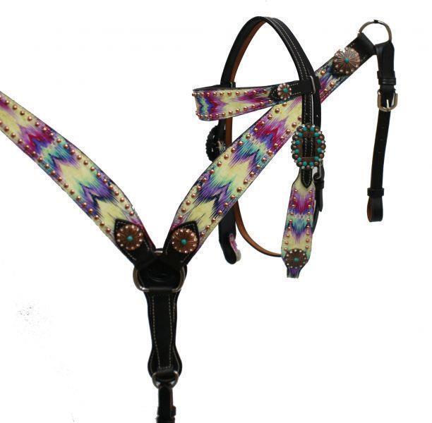 Showman Oscuro Cuero Brida & pecho  collar conjunto Multi Color Chevron Impresión  Tachuela   el mejor servicio post-venta