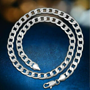Authentic-4mm-Solid-925-Sterling-Silver-Plated-Men-Women-039-s-Link-Chain-Necklaces