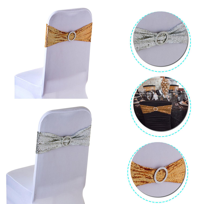 Cubierta de la silla de Lentejuelas Banda Con Hebilla Deslizante tramo bandas para Boda Fiesta