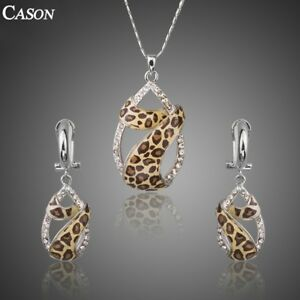 Rose-White-Gold-Austrian-Crystals-Leopard-Earrings-and-Necklace-Jewelry-Set-Gift