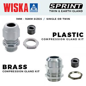 Brass Glands with Inserts 1mm 16mm Wiska Twin and Earth Amendment 3 Plastic