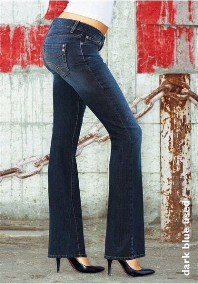 Arizona Bootcut Jeans Gr.36 L32 Neu Damen Stretch Blau Dark Used Hose Baggy