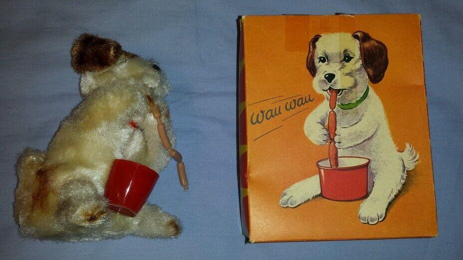 Vintage DBGM Gesch Alemania Occidental Wau Wau Cachorro Perro De Cuerda Juguete En Caja Original