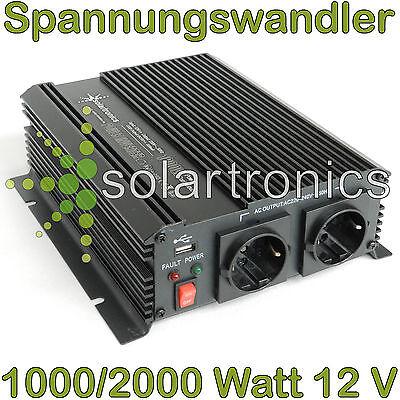 Spannungswandler 12V 1000/2000 Watt Inverter Wechselrichter