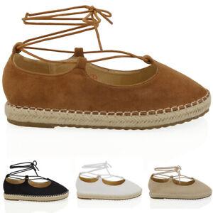 Alpargatas-Para-Mujer-Plano-Zapatos-Damas-Encaje-Hasta-Bombas