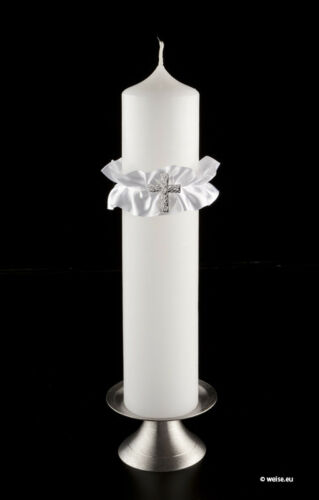 Kerzenschmuck Kerzenkleid für dicke Kerzen Kommunion Konfirmation weiss
