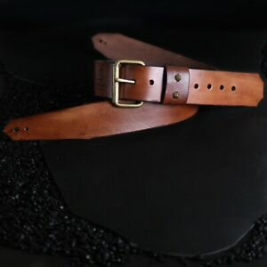 2.5 Inches Leather Guitar Strap With Lion Buckle..Brown