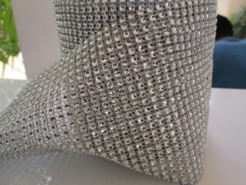 0,5m elegante Strass Band Borte Nichtelastisch Spitze Silber 11,8cm Breit PT 041