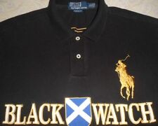 POLO RALPH LAUREN Mens Black Casual Blackwatch Shirt Big Pony XL