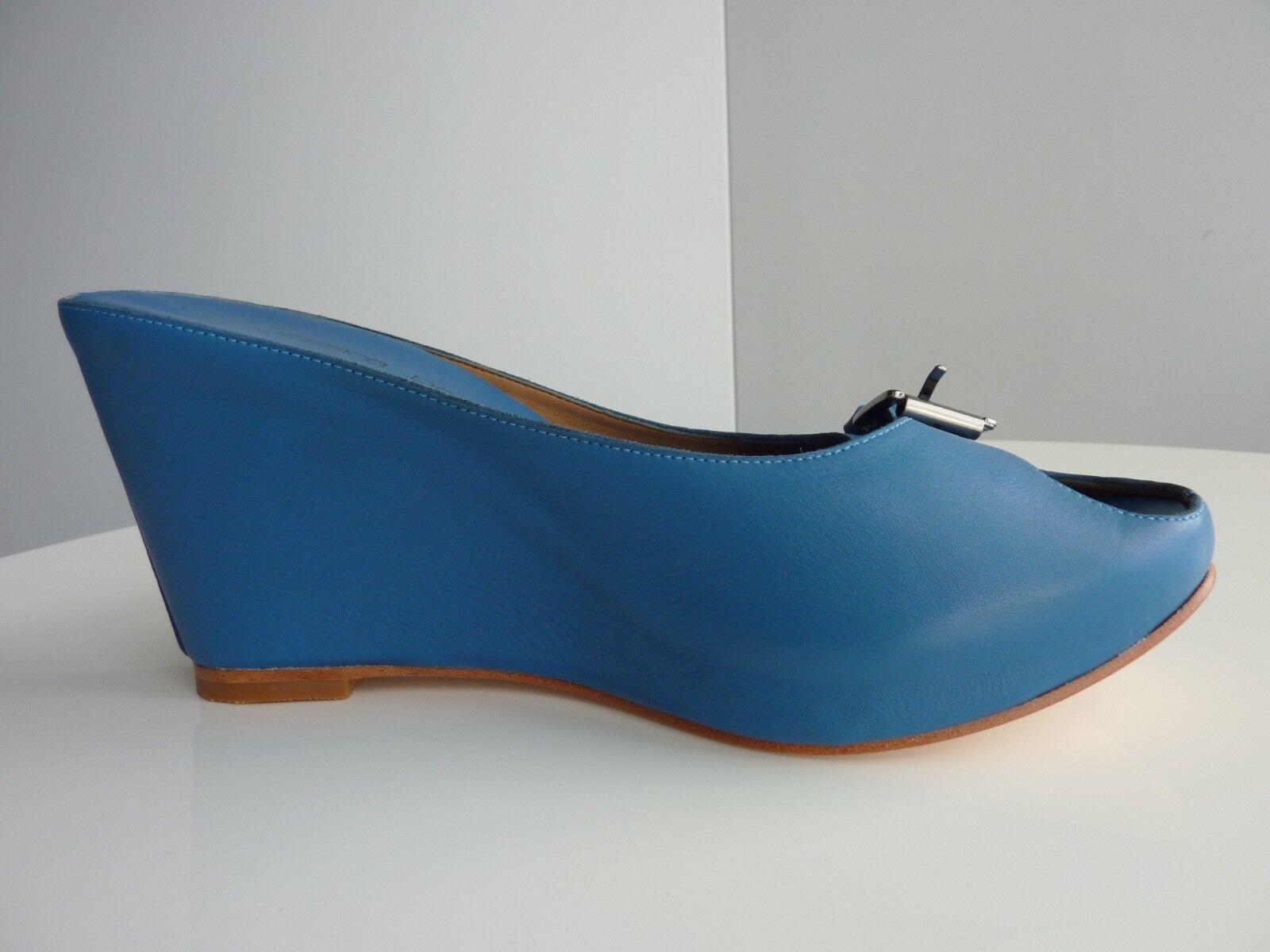 NEU Jessica Bennett Blau Peep Toe Leder Platform Wedge Heels EU39/US8.5 220