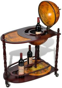 Image Is Loading Antique Rolling Globe Bar Cabinet Mobile Vintage Wine