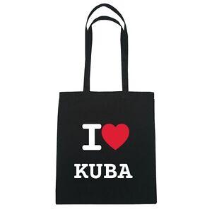 I love KUBA - Jutebeutel Tasche Beutel Hipster Bag - Farbe: schwarz