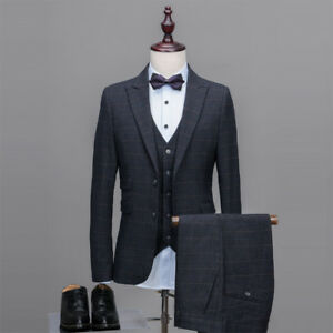 Mens Dark Gray Striped Formal Tuxedos Groom Check Retro Suit Prom ...