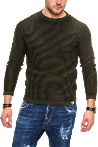 Jack /& Jones Uomo Lavorazione a Maglia Pullover O-Neck Sweater Pullover con motivo a strisce/%