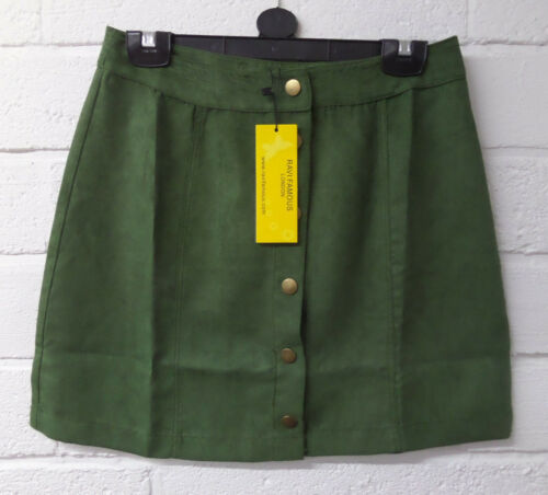 Womens Ladies New Short High Waisted Suede Gold Button Mini Skirt UK 6-14COLOURS