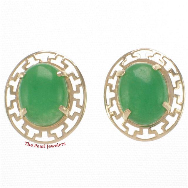 14k Yellow Solid Gold Greek Key Design Cabochon Green Jade Stud Earrings Tpj