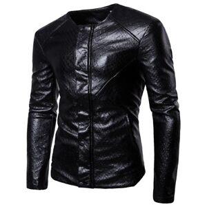 Men-039-s-Faux-Leather-Jacket-Gothic-Motorcycle-Biker-Blazer-Collarless-Slim-Fit-L