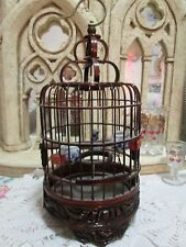 Vintage Chinese Wooden Carved Small Bird Cage With Three Pottery Dishes ASIAN
