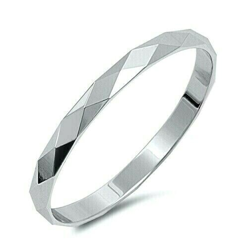 Diamond Cut Band Ring Genuine Sterling Silver 925 Jewelry Gift Face Height 2 mm