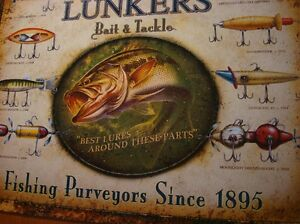 LUNKERS-BAIT-amp-TACKLE-Antique-Fishing-Lures-on-Rustic-Fisherman-Sign-Decor-NEW