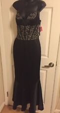 Black Mermaid Gown Illusion Sequin Formal Satin Sz 4 Wedding Panoply New