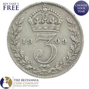 1902 To 1910 King Edward VII argent trois pences 3d-choisissez votre année!