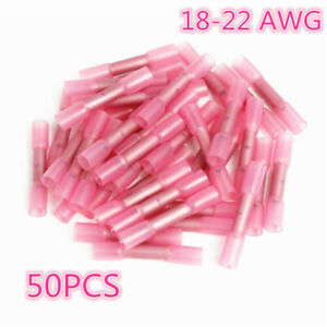 50x-200x Solder Sleeve Heat Shrink Butt Electrical Wire CrimpTerminal Connectors