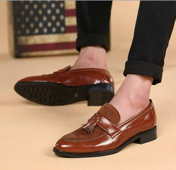 Fashion Breathable Business Dress shoes Mens Tassels Pull On Low Heels shoes