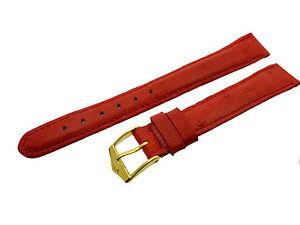 # L160# Fortis Swiss Made Uhrenarmband Leder Bracelet Leather 14/12 Mm Rot
