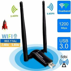 Cle WiFi USB Adaptateur WiFi USB 3.0 Antenne WiFi Dongle Double Bande 1200Mbps