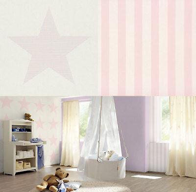 Big Stars Stripes Wallpaper Kids Teens Children Bedroom Luxury White Pink Rasch Ebay
