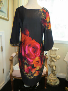 JULIAN-TAYLOR-NEW-YORK-BLACK-FLORAL-DRESS-NEW-WITH-TAGS-SIZE-14
